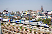 A KTX (Korea Train Express) high speed train (a TGV license) Train going from Kwangju to Seoul passing Ganggyeong station.