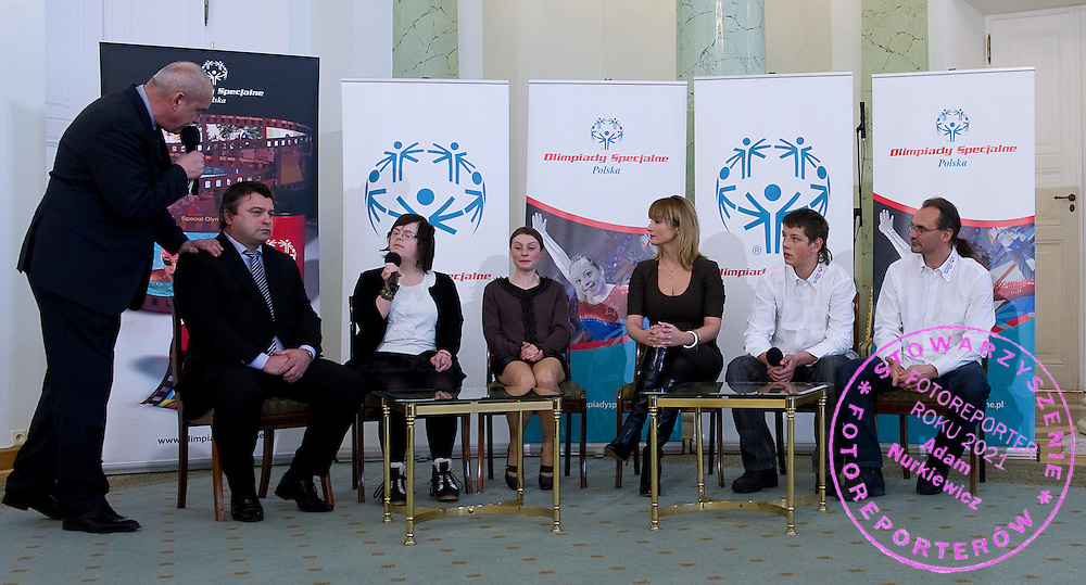 (L) Member of parliament and former soccer player Roman Kosecki & (2L) Sabina Czernic & (4L) Famous actress Joanna Brodzik with athletes of Special Olympics attend a meeting with First Lady Anna Komorowska in Presidential Palace in Warsaw on February 26, 2013..The mission of Special Olympics is to provide sports training and athletic competition for children and adults with intellectual disabilities...Poland, Warsaw, February 26, 2013..Picture also available in RAW (NEF) or TIFF format on special request...For editorial use only. Any commercial or promotional use requires permission...Photo by © Adam Nurkiewicz / Mediasport