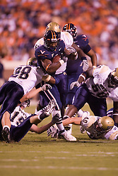 Virginia running back Cedric Peerman (37) rushes against Pitt.  The Virginia Cavaliers faced the Pittsburgh Panthers at Scott Stadium in Charlottesville, VA on September 29, 2007.