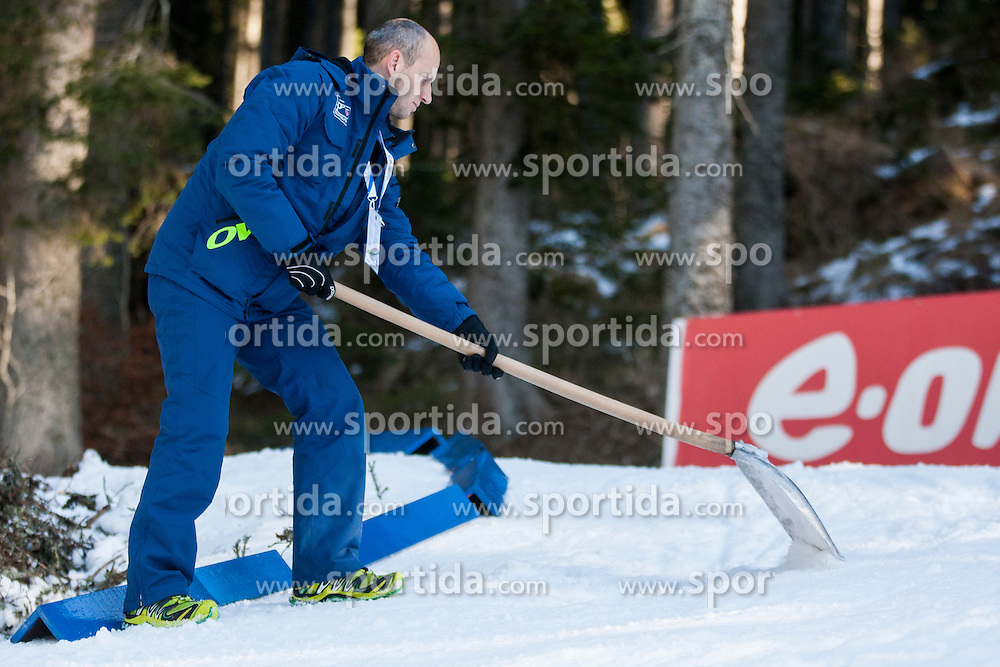 Worker during Men 12,5 km Pursuit at day 3 of IBU Biathlon World Cup 2015/16 Pokljuka, on December 19, 2015 in Rudno polje, Pokljuka, Slovenia. Photo by Urban Urbanc / Sportida