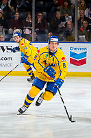 KELOWNA, BC - DECEMBER 18:  Rasmus Sandin #8 of Team Sweden skates with the puck against the Team Russia at Prospera Place on December 18, 2018 in Kelowna, Canada. (Photo by Marissa Baecker/Getty Images)***Local Caption***