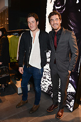 Left to right, BLAISE PATRICK and ROBERT KONJIC at the opening of the Tiger of Sweden Store, 210 Piccadilly, London on 3rd October 2013.