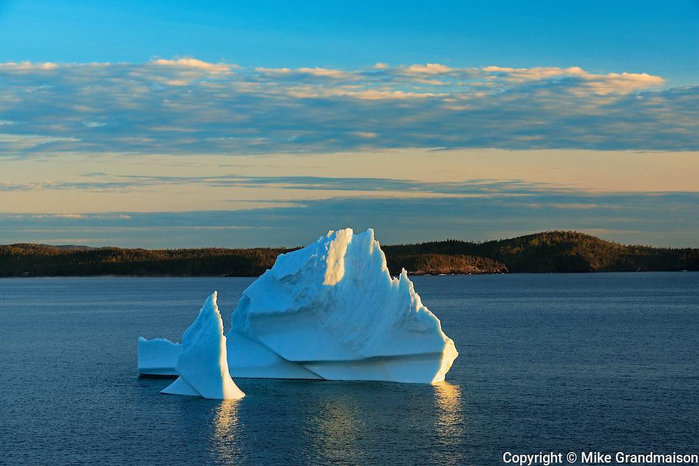 Icebergs floating in Salvage Bay of the Atlantic Ocean<br /> Eastport<br /> Newfoundland & Labrador<br /> Canada