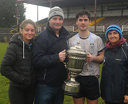 Ruth, Seamus Mark and Kathleen Moran celebrate the Rice College victory at the Connacht GAA Post Primary Senior A Football final at Tuam Stadium.<br /> Pic Conor McKeown