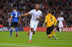 Theo Walcott of England celebrates after he scores the opening goal - Mandatory byline: Paul Terry/JMP - 07966 386802 - 09/10/2015 - FOOTBALL - Wembley Stadium - London, England - England v Estonia - European Championship Qualifying - Group E