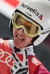 06.01.2016, Paul Ausserleitner Schanze, Bischofshofen, AUT, FIS Weltcup Ski Sprung, Vierschanzentournee, Bischofshofen, Finale, im Bild Simon Ammann (SUI) // Simon Ammann of Switzerland reacts after his 1st round jump of the Four Hills Tournament of FIS Ski Jumping World Cup at the Paul Ausserleitner Schanze in Bischofshofen, Austria on 2016/01/06. EXPA Pictures © 2016, PhotoCredit: EXPA/ JFK