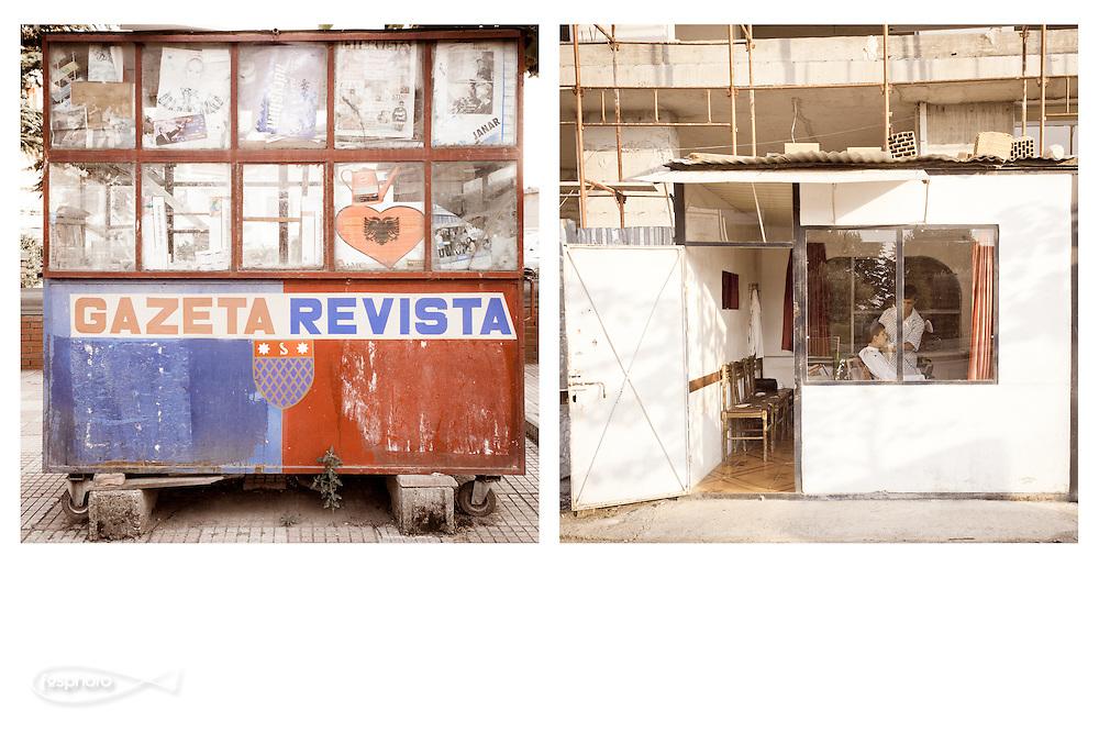 Shkodër - Kiosk and barber shop.