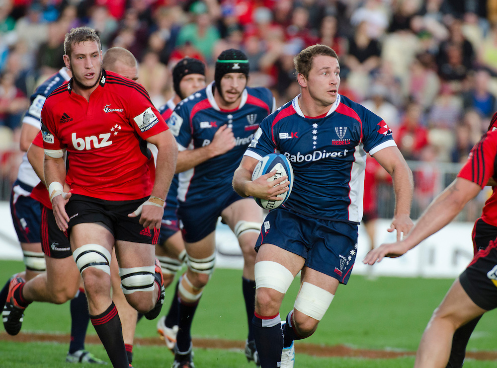 Rebels  Scott Fuglistaller makes a break against the Crusaders in the Super Rugby match, at AMI Stadium, Christchurch, New Zealand, Sunday, April 28, 2013. Credit:SNPA / David Alexander.