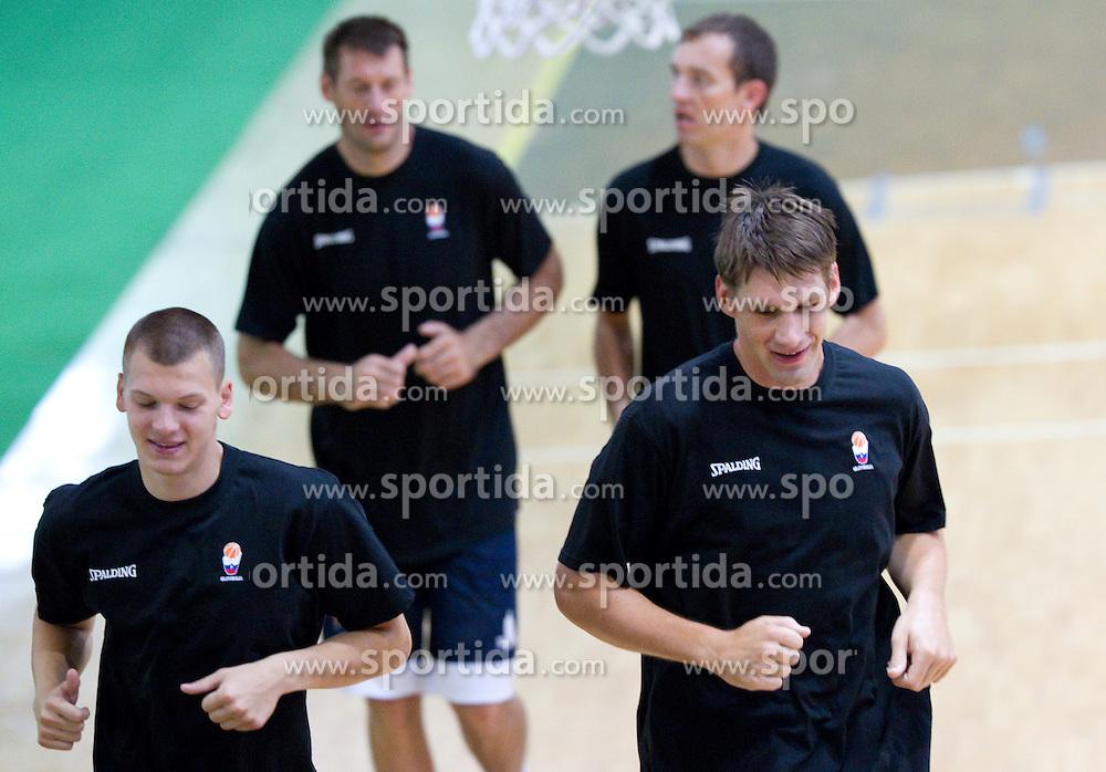 Jaka Klobucar and Gasper Vidmar at practice session of Slovenia basketball team on media day on July 16, 2010 at Rogla sports center, Slovenia. (Photo by Vid Ponikvar / Sportida)
