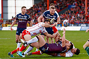 Leeds Rhinos interchange Brett Ferres (19) loses the ball on the try line during the Betfred Super League match between Hull Kingston Rovers and Leeds Rhinos at the Lightstream Stadium, Hull, United Kingdom on 29 April 2018. Picture by Simon Davies.