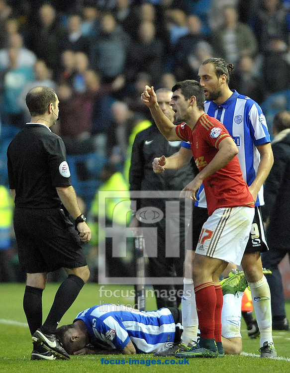 Nelson Oliveira of Nottingham Forest calls for a booking for Daniel Pudil of Sheffield Wednesday during the Sky Bet Championship match at Hillsborough, Sheffield<br /> Picture by Graham Crowther/Focus Images Ltd +44 7763 140036<br /> 31/10/2015