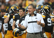 September 3, 2011: Iowa Hawkeyes head coach Kirk Ferentz directs his team during the first half of the game between the Tennessee Tech Golden Eagles and the Iowa Hawkeyes at Kinnick Stadium in Iowa City, Iowa on Saturday, September 3, 2011. Iowa defeated Tennessee Tech 34-7 in a game stopped at one point due to lightning and rain.