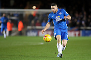 Peterborough United forward Conor Washington heads for goal during the Sky Bet League 1 match between Peterborough United and Shrewsbury Town at the ABAX Stadium, Peterborough, England on 12 December 2015. Photo by Aaron Lupton.