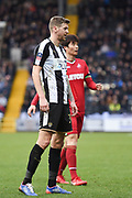 Notts County forward Jonathan Stead (30) and Swansea City midfielder Sung-Yueng Ki (4) during the The FA Cup 4th round match between Notts County and Swansea City at Meadow Lane, Nottingham, England on 27 January 2018. Photo by Jon Hobley.