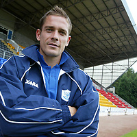 Paul Bernard pictured at McDiarmid Park today after signing a twelve month contract with St Johnstone.<br />see story by Gordon Bannerman Tel: 01738 553978<br /><br />Picture by Graeme Hart.<br />Copyright Perthshire Picture Agency<br />Tel: 01738 623350  Mobile: 07990 594431