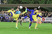Bayo Akinfenwa forward for AFC Wimbledon (10) tussle during Sky Bet League 2 Play-Off first leg match between AFC Wimbledon and Accrington Stanley at the Cherry Red Records Stadium, Kingston, England on 14 May 2016. Photo by Stuart Butcher.
