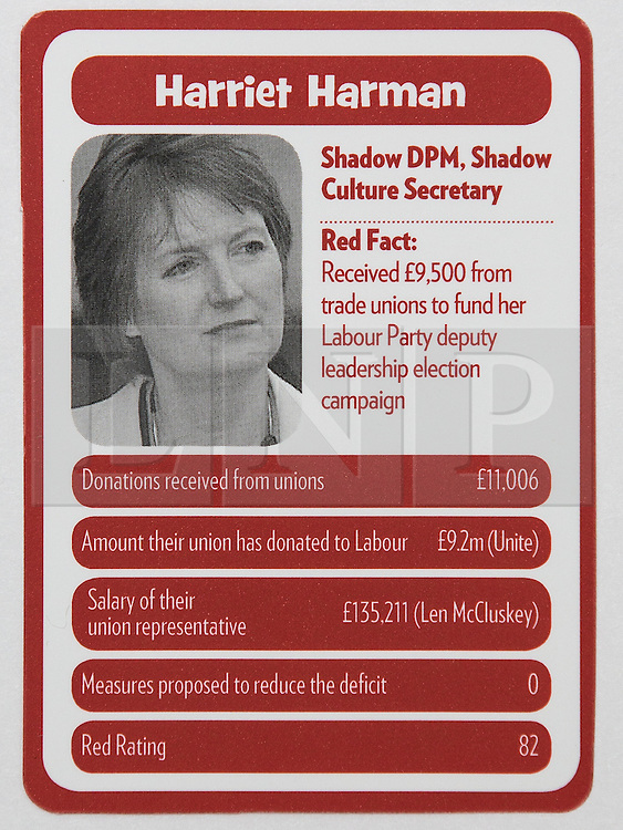 """© Licensed to London News Pictures . 29/09/2013 . Manchester , UK . Harriet Harman . """" Top Trumped by the Unions """" cards handed out at the Conservative Party Conference . The Conservative Party Conference at Manchester Central . Photo credit : Joel Goodman/LNP **FULL PACK OF 40 TRUMP CARDS AVAILABLE ON REQUEST**"""