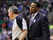 Acting Denver Nuggets head coach Adrian Dantley, reacts to an officials call during the first half of Game 6 of the NBA Western Conference first-round playoff series in Salt Lake City, Friday, April 30, 2010. (AP Photo/Colin E Braley)