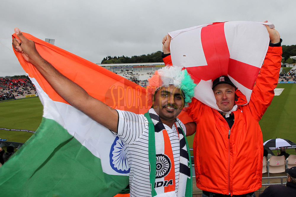 Fans keep their spirits up whilst waiting for the rain to stop during the 2nd One Day International ( ODI ) between England and India held at the Rose Bowl Cricket Ground in Southampton, Hampshire, England on the 6th September 2011...Photo by Ron Gaunt/SPORTZPICS/BCCI
