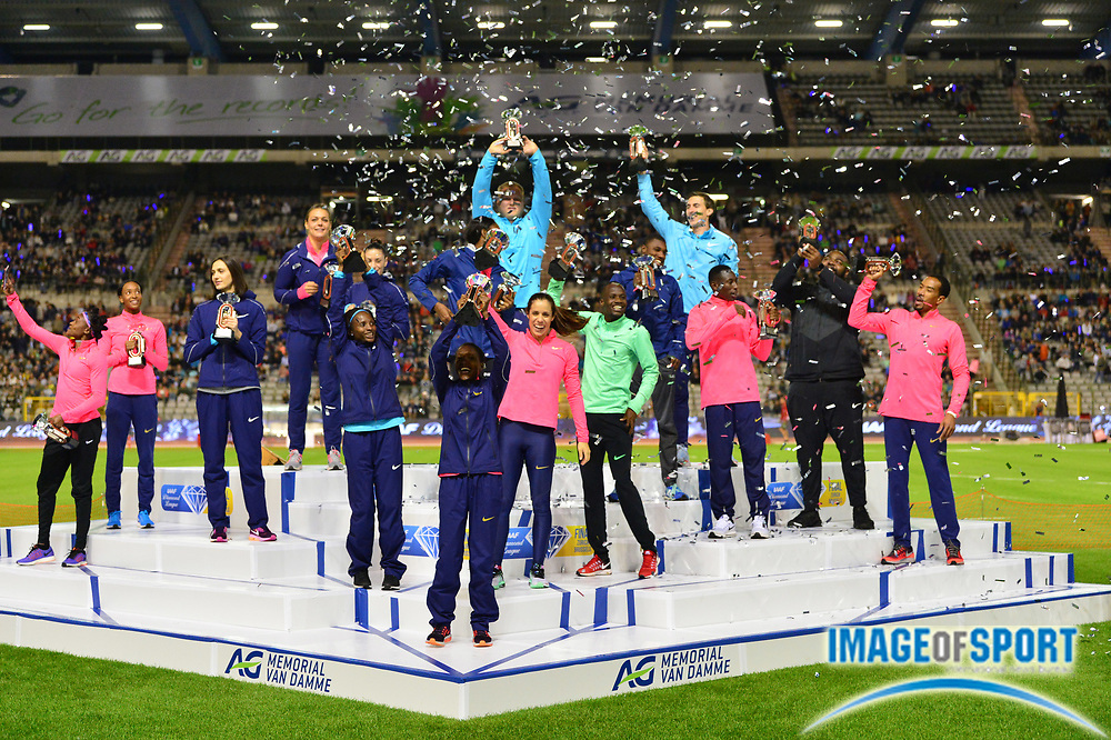 IAAF Diamond League winners Elaine Thompson (JAM), Dalilah Muhammad (USA), Mariya Lasitskene aka Mariya Kuchina (RUS), Sandra Perkovic (CRO), Ivana Spanovic (SRB),Faith Kipyegon (KEN), Hellen Obiri (KEN), Sergey Shubenkov (RUS), Shaunae Miller-Uibo (BAH), Katerina Stefanidi (GRE), Noah Lyles (USA), Nijel Amos (BOT), Darrell Hill (USA) and Christian Taylor (USA) pose during the 42nd Memorial Van Damme in an IAAF Diamond League meet at King Baudouin Stadium in Brussels, Belgium on Friday, September 1, 2017. (Jiro Mochizuki/Image of Sport)
