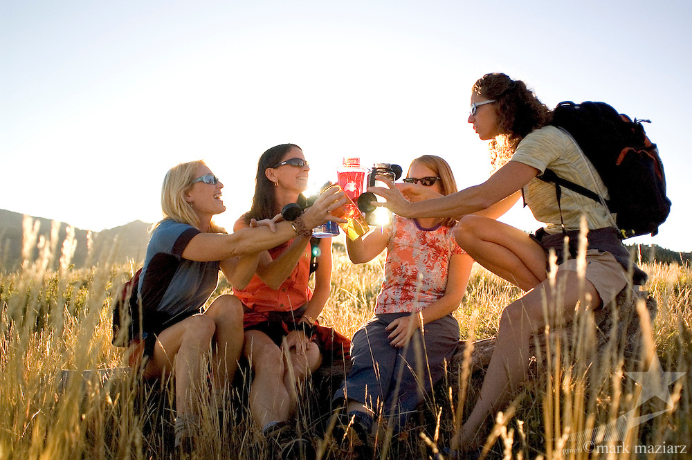 group of 4 woman hiking above Park City, UT USA