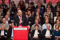 19 MAR 2017, BERLIN/GERMANY:<br /> Martin Schulz, SPD, haelt seine Rede vor seiner Wahl zum SPD Parteivorsitzenden und SPD Spitzenkandidat der Bundestagswahl, a.o. Bundesparteitag, Arena Berlin<br /> IMAGE: 20170319-01-039<br /> KEYWORDS: party congress, social democratic party, candidate, speech