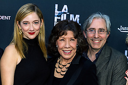 LOS ANGELES, CA - JUNE 10: Actors Amanda Edwards, Lily Tomlin and director Paul Weitz attend the opening night premiere of 'Grandma' during the 2015 Los Angeles Film Festival at Regal Cinemas L.A. Live on June 10, 2015. Byline, credit, TV usage, web usage or linkback must read SILVEXPHOTO.COM. Failure to byline correctly will incur double the agreed fee. Tel: +1 714 504 6870.
