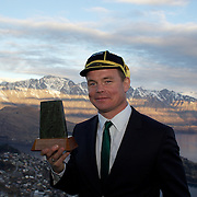 """Brian O""""Driscoll shows off his Irish cap and trhe gift presented to the Irish team  during the  Civic welcome for the Irish team at Skyline.  Queenstown, New Zealand, 4th September 2011. Photo Tim Clayton."""