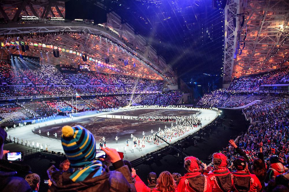 Sochi 2014 Winter Olympic Games: Opening ceremonies at Fisht Stadium.