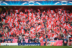 LONDON, ENGLAND - Tuesday, May 5, 2009: Arsenal supporters wave their flags before the UEFA Champions League Semi-Final 2nd Leg match against Manchester United at the Emirates Stadium. (Photo by David Rawcliffe/Propaganda)