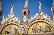 Gable detail and mosaics, Basilica San Marco (Saint Mark's Cathedral), Venice, Veneto, Italy