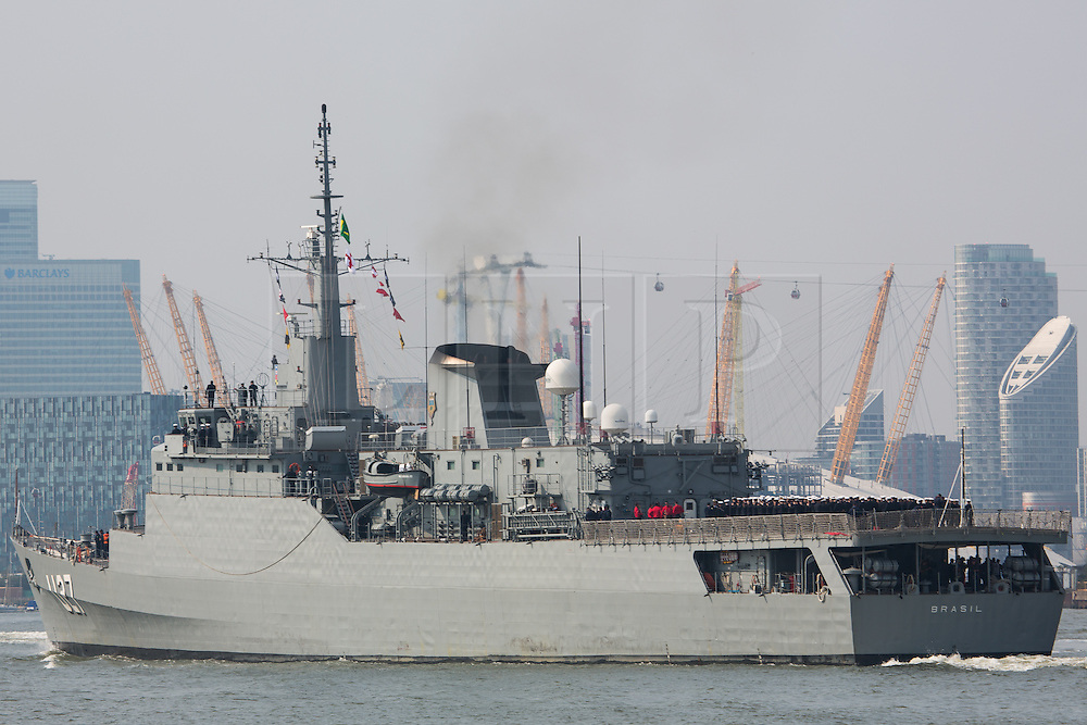 © Licensed to London News Pictures. 15/09/2016. Brazilian Navy training ship NE Brasil S27 has sailed up the Thames on a hot sunny September day for its annual visit to the capital where it moored alongside HMS Belfast. Credit: Rob Powell/LNP