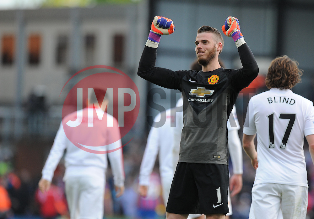 Manchester United's David De Gea celebrates at full time. - Photo mandatory by-line: Alex James/JMP - Mobile: 07966 386802 - 09/05/2015 - SPORT - Football - London - Selhurst Park - Crystal Palace v Manchester United - Barclays Premier League
