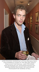 LORD FREDERICK WINDSOR son of Prince Michael of Kent, at an exhibition in London on 15th May 2001.OOD 21