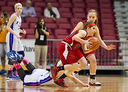 Bridgeport guard Gianina Renzelli (20) steals the ball against Fairmont Senior during a first round game at the Charleston Civic Center.