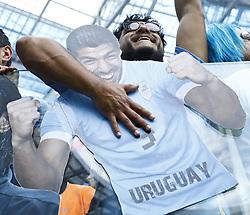 July 6, 2018 - Nizhny Novgorod, Russia - France v Uruguay - Quarter-finals FIFA World Cup Russia 2018.Uruguay supporters with the photo of Luis Suarez at Nizhny Novgorod Stadium in Russia on July 6, 2018. (Credit Image: © Matteo Ciambelli/NurPhoto via ZUMA Press)