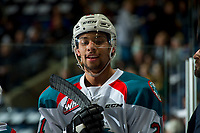 KELOWNA, CANADA - APRIL 7: Devante Stephens #21 of the Kelowna Rockets stands on the bench against the Portland Winterhawks on April 7, 2017 at Prospera Place in Kelowna, British Columbia, Canada.  (Photo by Marissa Baecker/Shoot the Breeze)  *** Local Caption ***