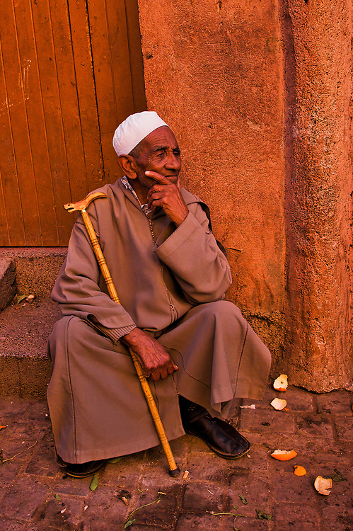 This fine looking man was seated contemplating the day in a side street souk in Marrakech.<br />