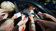 HOENDERLOO - Dutch international Wilfred Bouma gives his signature to fans when he arrives for the dutch trainingcamp of the Netherlands kicks the ball during a soccer training session in Hoederloo. AFP/ ROBIN UTRECHT