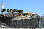 The USA Mexico Border Wall Seen From Imperial Beach Looking Towards Mexico and The Friendship Circle Bi-National Garden