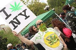 May 4, 2019 - New York City, New York, U.S. - Parade goer attends the NYC Cannabis Parade and Rally held in Union Square. (Credit Image: © Nancy Kaszerman/ZUMA Wire)