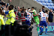 Reading plyers celebrate their goal scored by Matt Miazga (5) of Reading during the EFL Sky Bet Championship match between Reading and Preston North End at the Madejski Stadium, Reading, England on 19 October 2019.