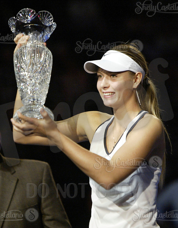 15 November 2004: Maria Sharapova (RUS) with a first place crystal trophy after defeating Serena Williams (USA) 4-6, 6-2, 6-4 in the finals of the WTA Tour Championships on day six at the Staples Center in Los Angeles, CA.