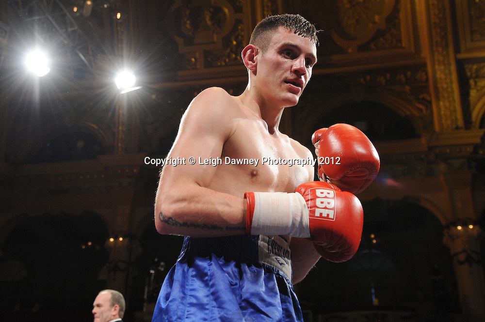 Robert Dixon defeats Liam Griffiths (pictured) in a contest at The Winter Gardens, Blackpool on the 31st March 2012. Frank Maloney and Steve Wood VIP Promotions. © Leigh Dawney Photography 2012.