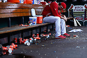 ST. LOUIS, MO - MAY 16: General view of the dugout during the game between the New York Mets and St. Louis Cardinals at Busch Stadium on May 16, 2013 in St. Louis, Missouri. (Photo by Joe Robbins)
