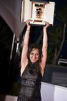 Director Houda Benyamina with the Caméra D'or award at the Palm D'Or Winners photocall at the 69th Cannes Film Festival Sunday 22nd May 2016, Cannes, France. Photography: Doreen Kennedy