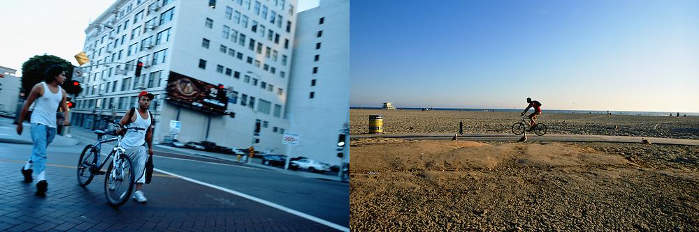 Dos jóvenes de aspecto latino caminan con una bicileta en una calle del centro de Los Angeles al atardecer..Un ciclista pasea frente a la playa de Santa Monica con el mar al fondo en un soleado día de verano.