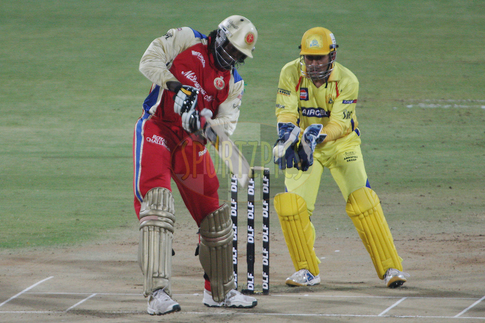 Chris Gayle edges the ball to MS Dhoni to lose his wicket during the final of the Indian Premier League ( IPL ) Season 4 between the Chennai Superkings and the Royal Challengers Bangalore held at the MA Chidambaram Stadium in Chennai, Tamil Nadu, India on the 28th April 2011..Photo by Jacques Rossouw/BCCI/SPORTZPICS