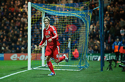 PRESTON, ENGLAND - Saturday, January 3, 2009: Liverpool's Fernando Torres celebrates scoring his side's second goal, on his return to the 1st team after a hamstring injury, against Preston North End during the FA Cup 3rd Round match at Deepdale. (Photo by David Rawcliffe/Propaganda)