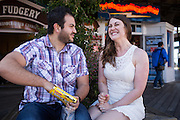 Bride and Groom poses for their engagment portraits in San Francisco, California, near Fisherman's Wharf on May 1, 2016. (Stan Olszewski/SOSKIphoto)